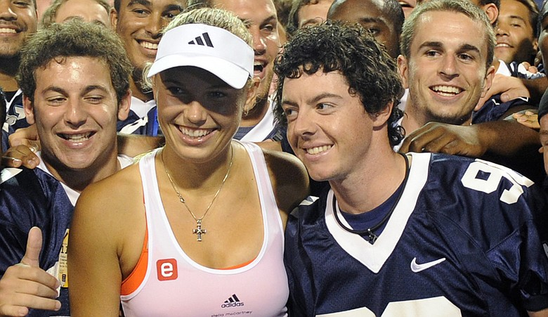 Rory McIlroy, right, with girlfriend Caroline Wozniacki.