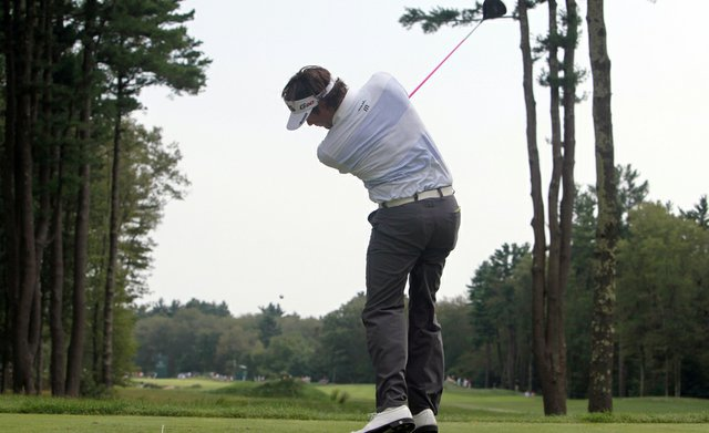 Bubba Watson tees off on the sixth hole during the third round of the Deutsche Bank Championship golf tournament at TPC Boston in Norton, Mass., Sunday, Sept. 4, 2011.