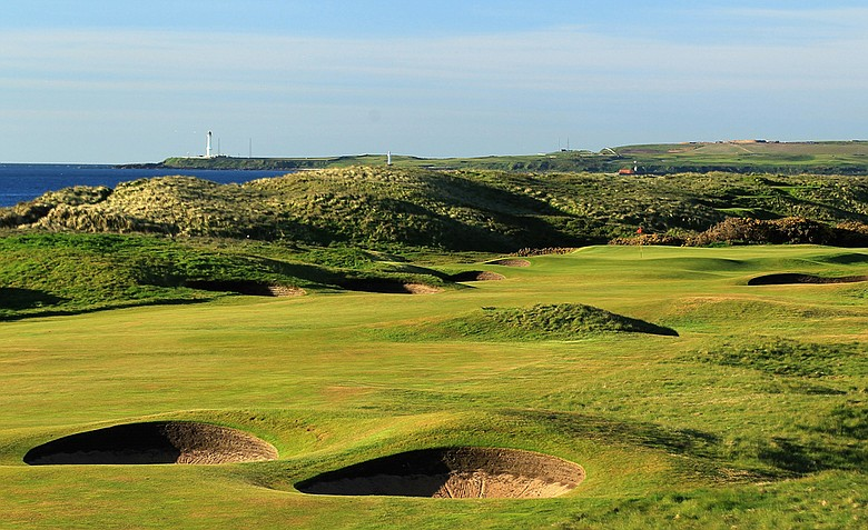 The par-5 12th hole at Royal Aberdeen in Aberdeen, Scotland