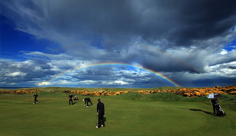 A rainbow is seen during the 2011 Walker Cup practice session at Royal Aberdeen Golf Club on May 12, 2011.
