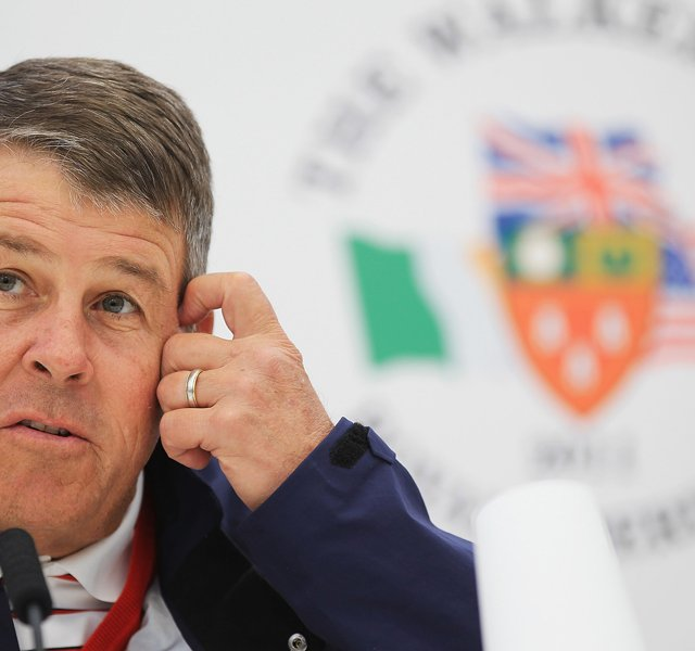 Jim Holtgrieve, captain of the U.S. Walker Cup team, talks with the media Sept. 9 during the final day of practice on the Balgownie Links at Royal Aberdeen (Scotland) Golf Club.