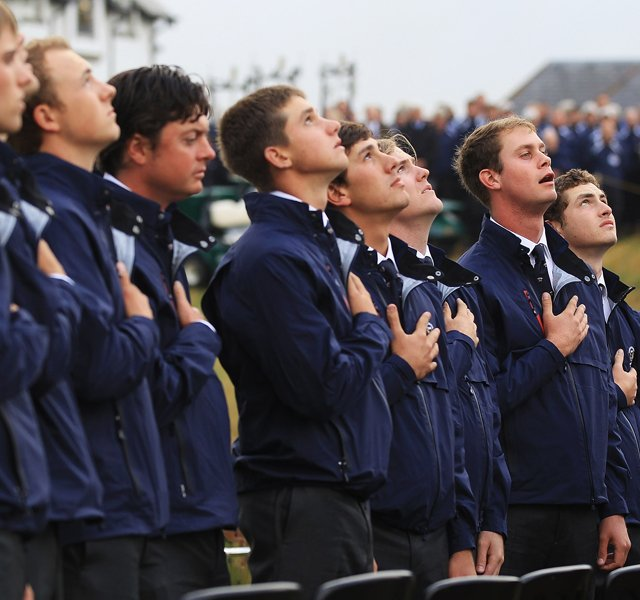 The U.S. team sings the national anthem during the opening ceremony of the 2011 Walker Cup held on the Balgownie Links at Royal Aberdeen Golf Club on Sept. 9 in Aberdeen, Scotland. 