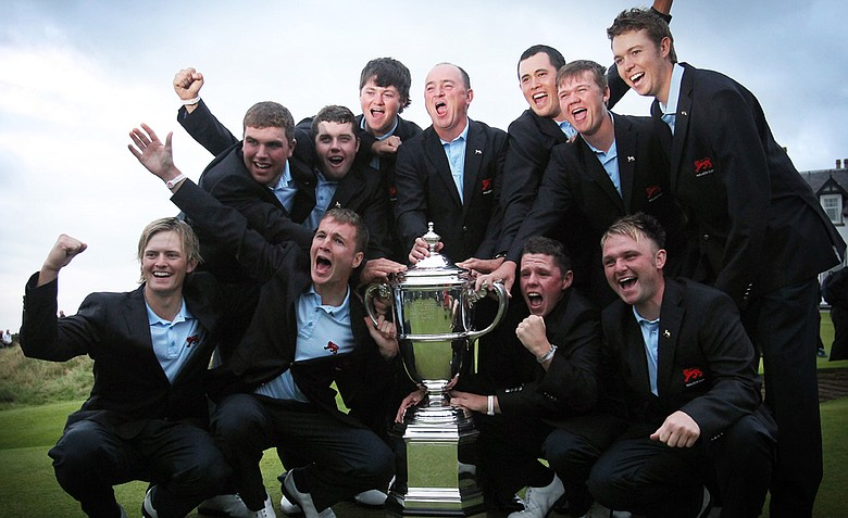 The victorious Great Britain and Ireland team with the Walker Cup at the end of Day 2 of the 2011 Walker Cup held on the Balgownie Links at Royal Aberdeen Golf Club on September 11, 2011 in Aberdeen, Scotland.