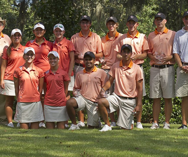 The Campbell men&#39;s and women&#39;s golf teams after winning the 2011 Golfweek Program Challenge.