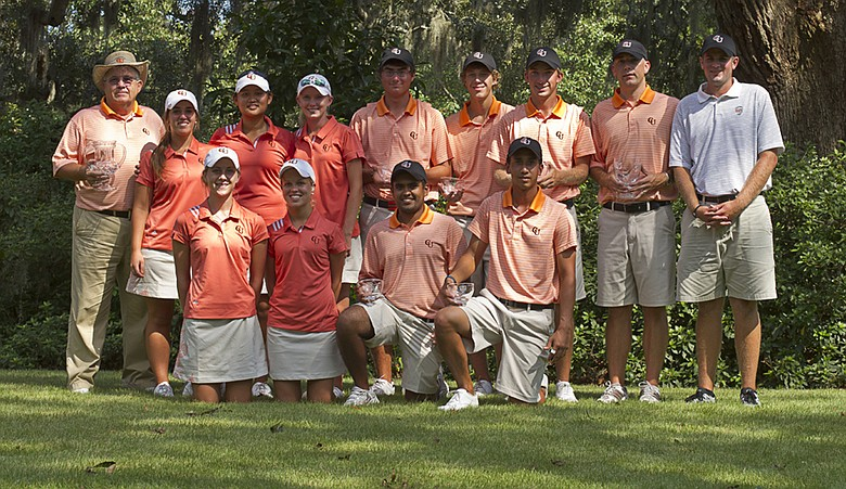 The Campbell men's and women's golf teams after winning the 2011 Golfweek Program Challenge.