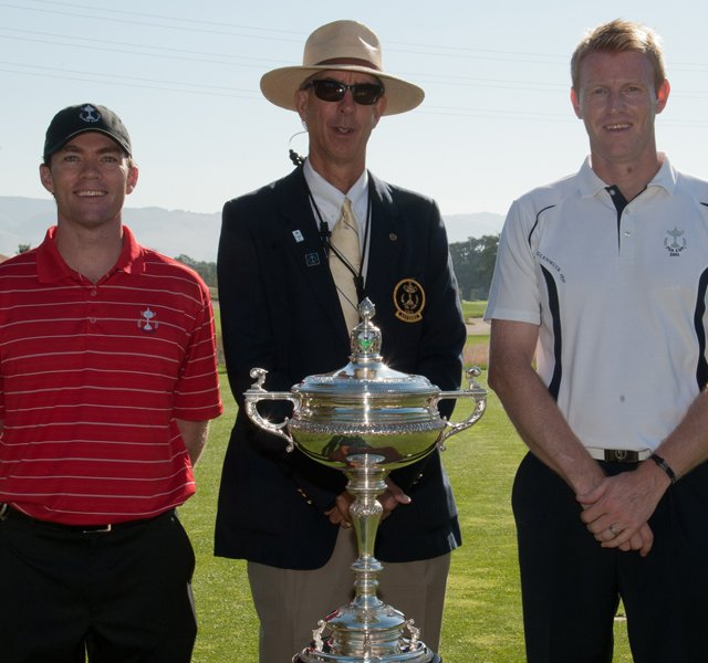 U.S. team member Marty Jertson, Referee Scott Essig, and G.B.&I. team member Craig Goodfellow, before their Singles matches at the 25th PGA Cup at CordeValle in San Martin, CA, USA, on Sunday.
