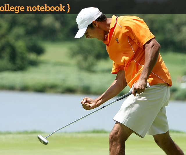 Oklahoma State's Sean Einhaus reacts at No. 18 during the semifinals of the 2011 NCAA Division I Men's Golf Championship at Karsten Creek in Stillwater, Okla.