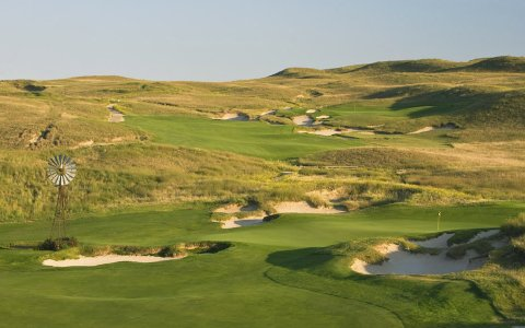 The fourth hole (foreground) and eighth hole at Dismal River