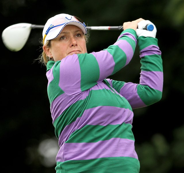 Karen Stupples during a practice round at the Solheim Cup.