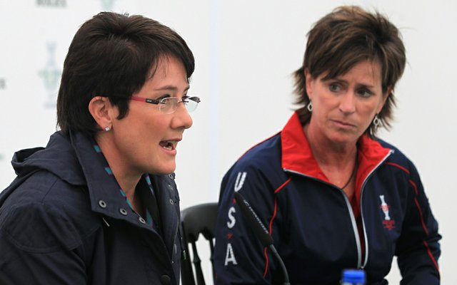 European Solheim Cup captain Alison Nicholas (left) and U.S. captain Rosie Jones meet with the media before the start of the matches in Ireland.