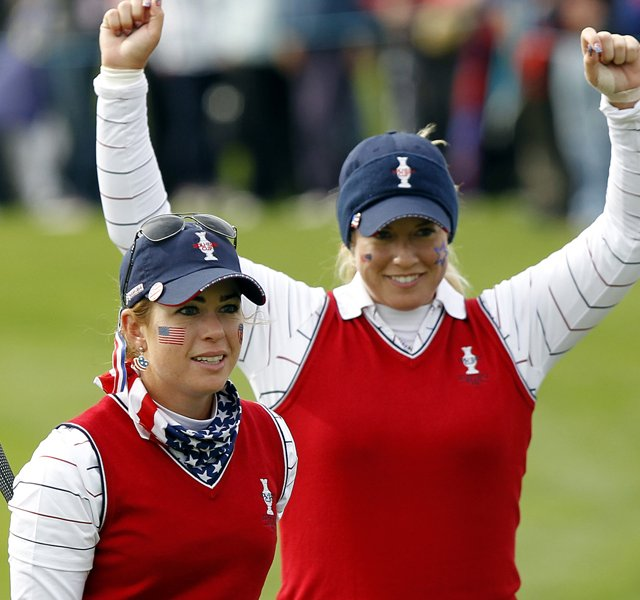 U.S. players Paula Creamer, left, and Brittany Linicome react on No. 18 after winning their morning foursomes match over Karen Stupples and Melissa Reid. Creamer and Lincicome overcame a two-shot deficit over the last three holes to win the Solheim Cup match at Kileen Castle in Dunsany, Ireland.
