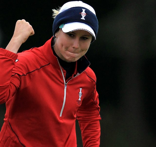 Ryann O&#39;Toole of the U.S. celebrates a birdie putt on the 7th green during the afternoon four-ball matches on Day 1 of the 2011 Solheim Cup at Killeen Castle Golf Club on September 23, 2011 in Dunshaughlin, County Meath, Ireland. O&#39;Toole and partner Christina Kim would halve the match.