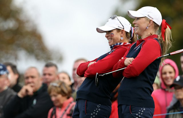 Paula Creamer, left, and Morgan Pressel during Round 1 of the Solheim Cup.