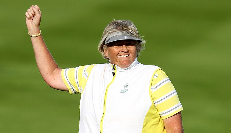 Laura Davies celebrates victory on the 15th hole during the afternoon fourballs on Day 2 of the 2011 Solheim Cup at Killeen Castle Golf Club.