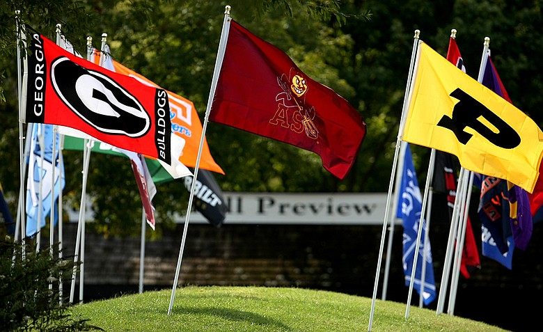 Team flags fly at Vanderbilt Legends Club in Franklin, Tenn.
