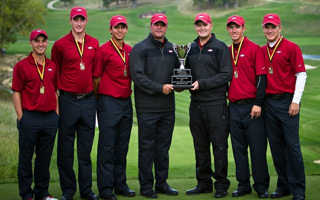 Arkansas won the 2011 Golfweek Conference Challenge at Spirit Hollow. From left, Austin Cook, Kolton Crawford, Josh Eure, coach Brad McMakin, assistant coach Barrett Lais, Ethan Tracy and Sebastian Cappelen.