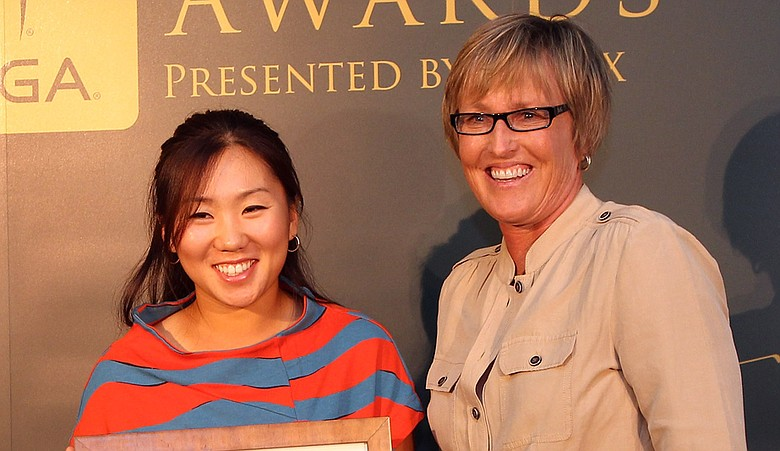 Jane Geddes, Senior VP of Tournament Operations and Player Services, (right) with In-Kyung Kim.