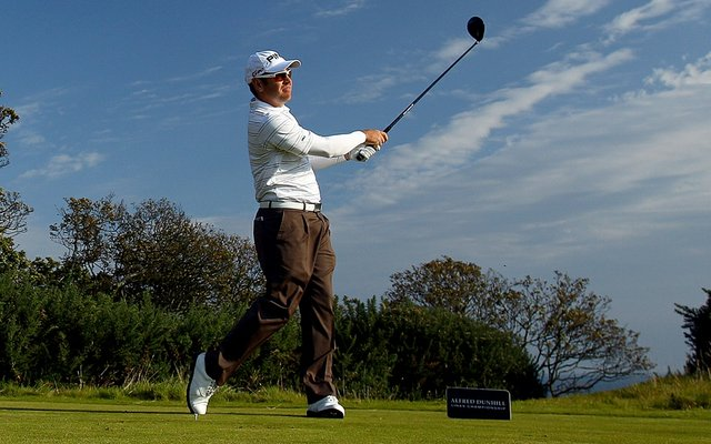 Louis Oosthuizen tees off during the opening round of the Dunhill Links Championship