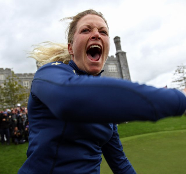 Europe's Suzann Pettersen of Norway celebrates on the 18th green after Europe beat the U.S to win the Solheim Cup at Killeen Castle in Dunsany near Dublin, on September 25, 2011. Europe won the tournament 15-13.