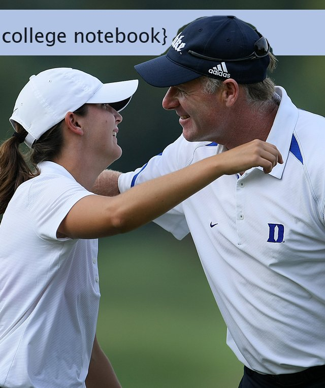 Duke junior Lindy Duncan hugs head coach Dan Brooks after winning the Mason Rudolph Fall Preview in a one-hole playoff.