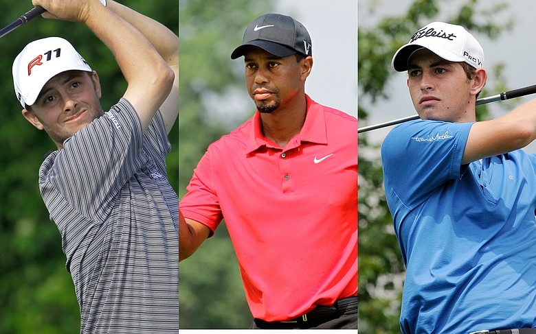 Spencer Levin, Tiger Woods and Patrick Cantlay