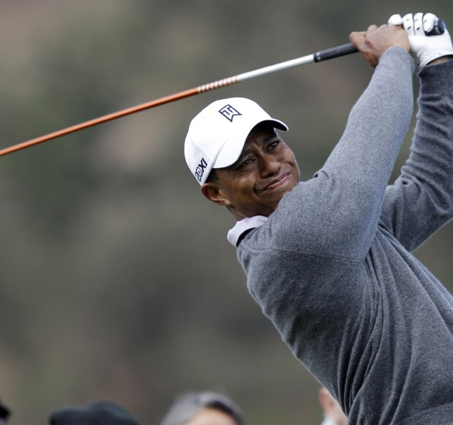 Tiger Woods tees off during a practice round at the Frys.com Open at CordeValle