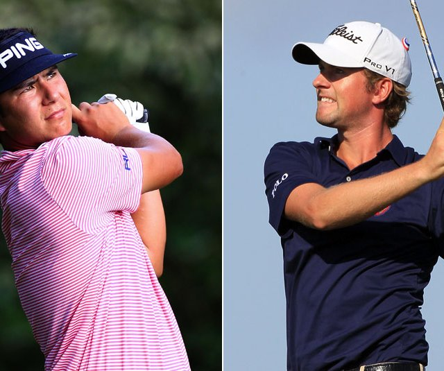 Zack Miller and Webb Simpson share the lead after the first round of the McGladrey Classic.
