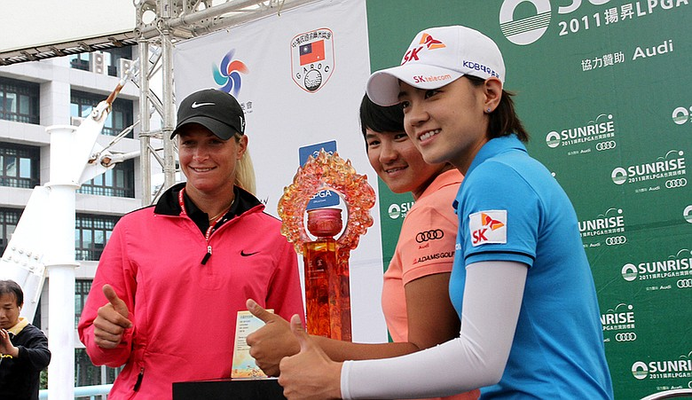 Suzann Pettersen, Yani Tseng and Na Yeon Choi during a press conference for the inaugural Sunrise LPGA Championship.
