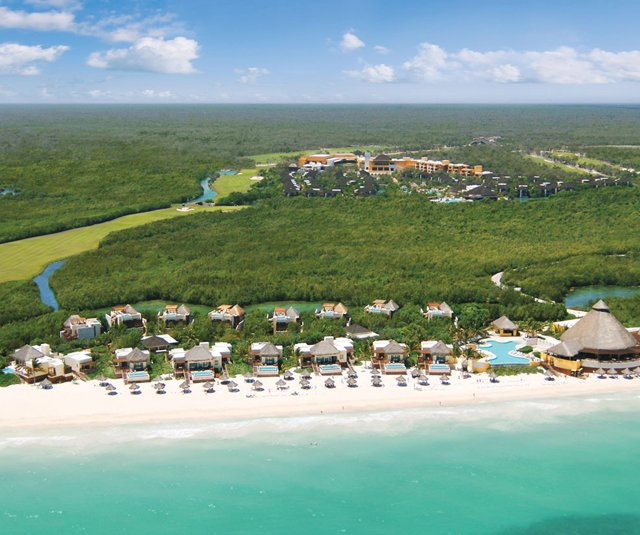 An aerial view of Mayakoba 