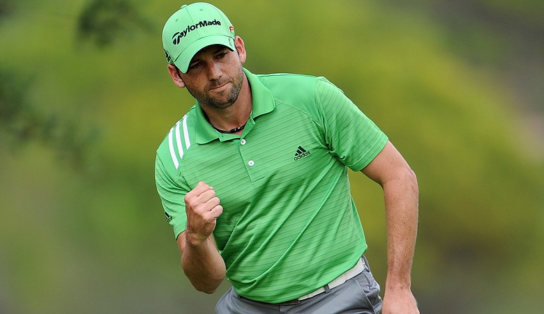 Sergio Garcia celebrates a putt during the third round of the Castello Masters.