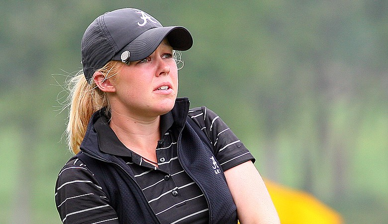 Stephanie Meadow watches a shot during the SEC/Pac-12 Championship.