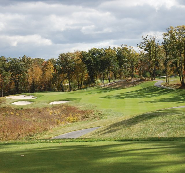 The 239-yard, par-3 fifth hole at Shining Rock