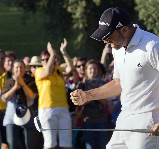 Sergio Garcia of Spain celebrates securing victory during the final round of the Andalucia Masters at Valderrama.
