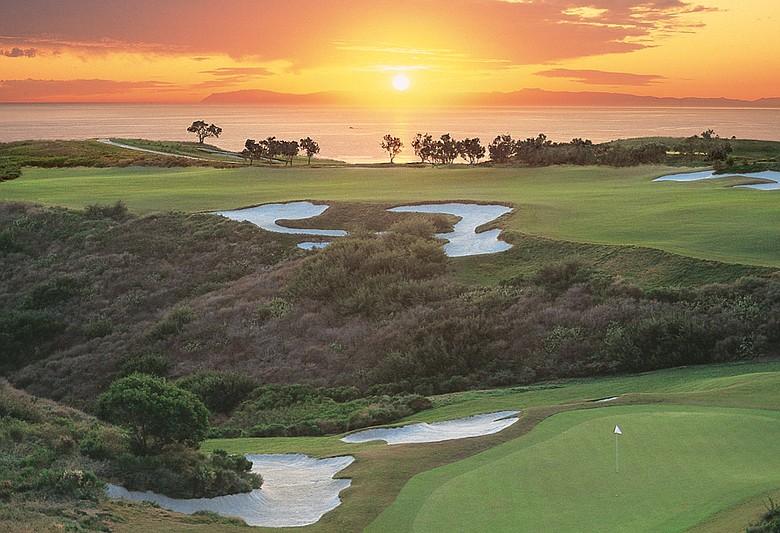 No. 18th hole at Pelican Hill Golf Club (Ocean South) in Newport Coast, Calif.