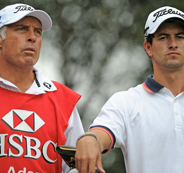 Steve Williams (left) and Adam Scott during the third round of the WGC-HSBC Champions in Shanghai.