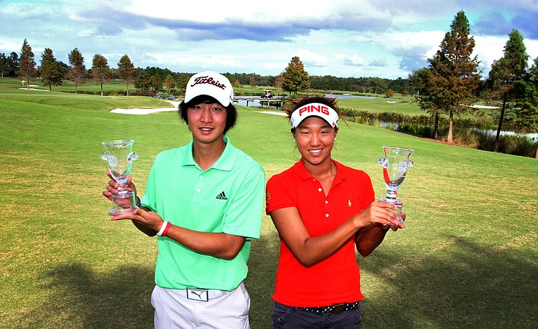 James Yoon, left, and Annie Park, right, won the Golfweek East Coast Junior Invitational at Shingle Creek Golf Club.