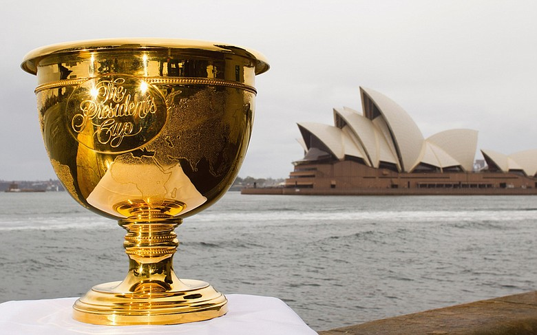 The Presidents Cup trophy on display in front of the Sydney Opera House in Sydney, Australia.