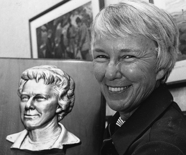 Mary &quot;Mickey&quot; Wright holds a World Golf Hall of Fame plaque bearing her likeness in Pinehurst, N.C., where she was inducted into the Hall of Fame, Sept. 8, 1976.