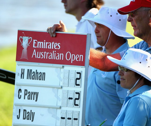 An Australian Open scoreboard shows an incomplete score for John Daly after he walked off the course during the first round.