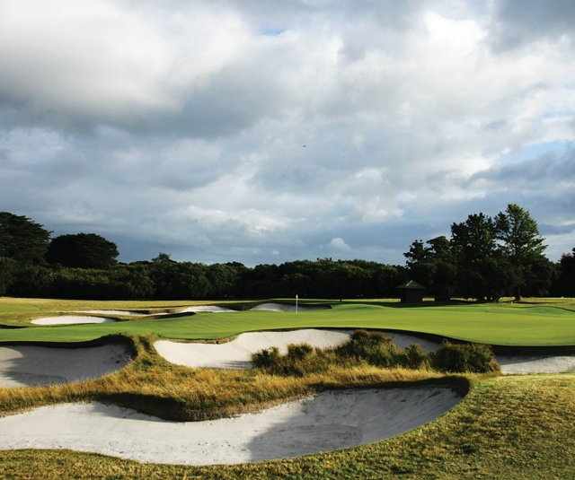 No. 18 on Royal Melbourne&#39;s East Course, a hole that will play as No. 16 on the Composite Course for the Presidents Cup.