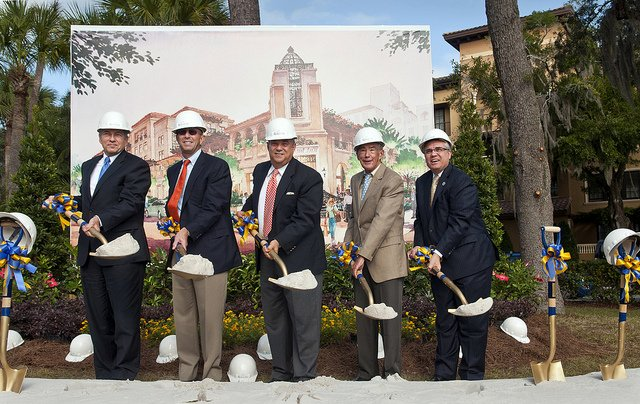 The groundbreaking of the Alfond Inn Nov. 4.