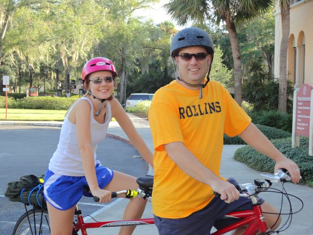 Mandy and Steve Booker bike from their Oviedo home to their jobs at Rollins College all along. 