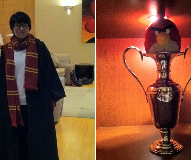 "(L) Yani Tseng dressed up in a Harry Potter costume after a conversation about theme parks. (R) Tseng placed an ""angry bird"" inside her Kraft Nabisco trophy since she didn't win in 2011."