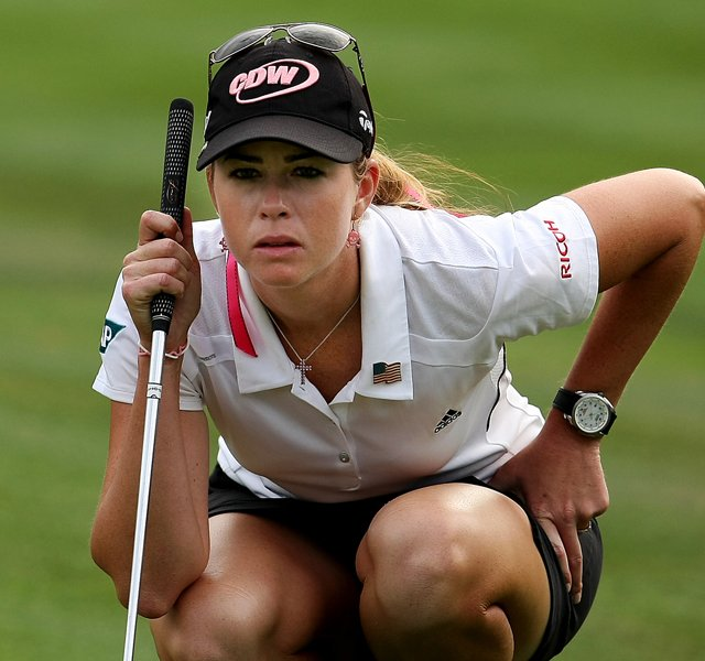 Paula Creamer eyes her putt at No. 18 on Saturday at the CME Group Titleholders at Grand Cypress in Orlando, Fla.
