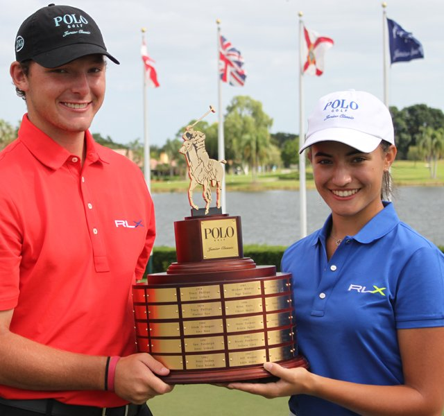 Matthew NeSmith, left, and Nicole Morales kicked off the 2012 AJGA season with big victories at the Polo Golf Junior Classic in Palm Beach Gardens, Fla.