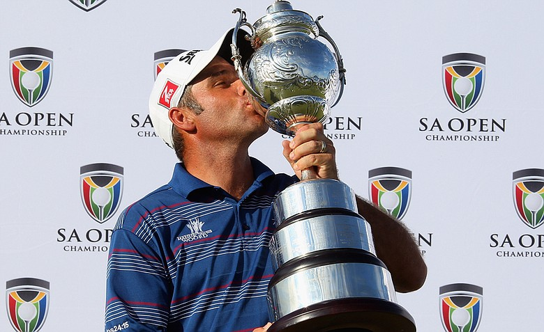 Hennie Otto of South Africa poses with the trophy after winning the South African Open Championship.