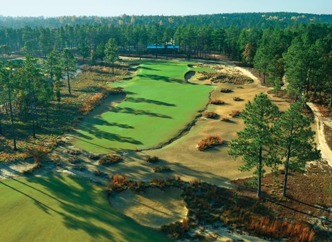 An aerial shot of the Dormie Club's 18th hole