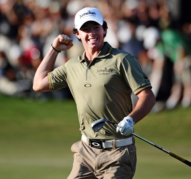 Rory McIlory celebrates his victory on the final hole during the final round of the UBS Hong Kong Open.