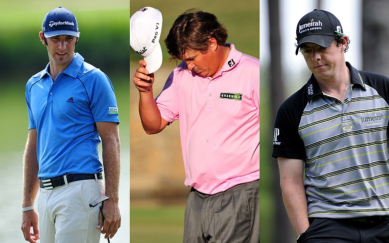 From left, Dustin Johnson, Jason Dufner and Rory McIlroy