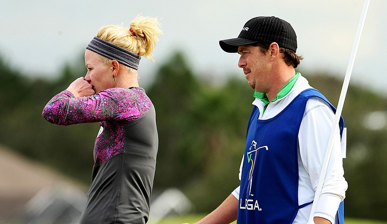 Nicole Smith with fellow Big Breaker and caddie Mark Murphy.